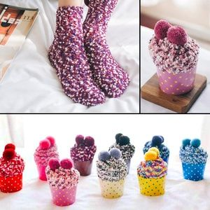 Accessories - Raspberry Cozy Cup Cake Cotton Socks